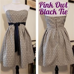 NEW Pink Owl Black Tie Strapless Damask D…